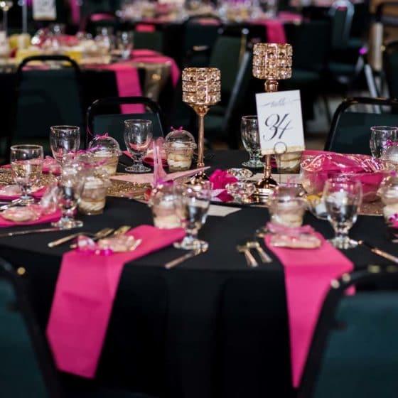 elegant table dressings for fundraiser event