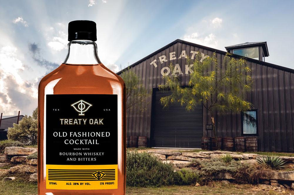 Treaty Oak Bourbon in front of the Treaty Oak factory